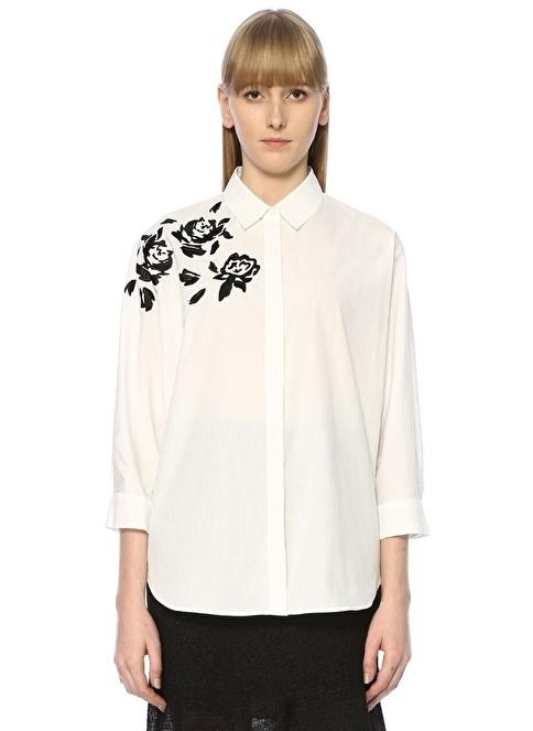 Beymen Club Gül İşlemeli Gömlek Beyaz